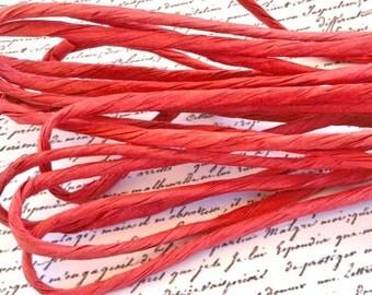 Red Paper Ribbon, 18 feet, Gift Wrap, Scrapbook, Paper Craft Supply Destash