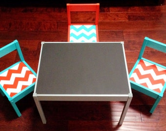 BLack Matte Chalkboard Play Table and 3 Chairs