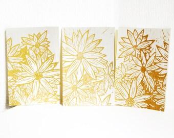 Golden flowers - Set of 3 - Linocut, Original print with gold ink