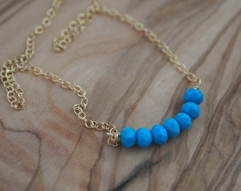 Blue turquoise necklace, Turquoise necklace, Simple Turquoise Necklace, Simple Blue Turquoise Necklace, Bridesmaid Necklace, Bridal blue