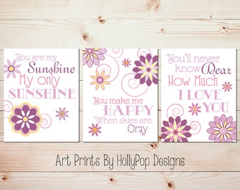 Baby Girl Nursery Art You are My Sunshine Purple Pink Yellow Wall Art Baby Girl Nursery Art Girl bedroom Artwork Toddler Girl Nursery Art