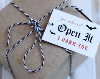 Open It I Dare You Halloween Favor Tags - Halloween Party - Halloween Favor Tags - Halloween Treats