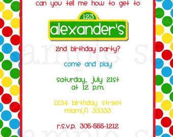 Sesame Street Birthday Invitation Inspired