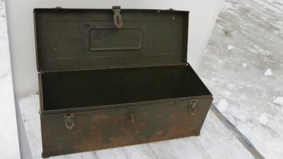 Vintage Green Metal Tool Box With Leather Handle And
