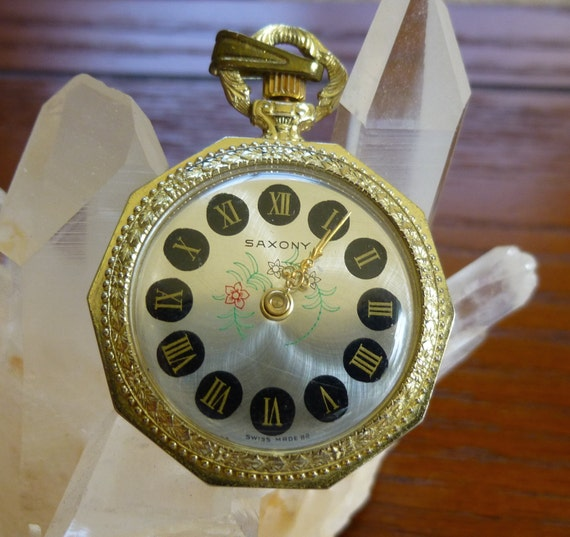Vintage Roman Numeral Pocket Pendant Watch Saxony Swiss