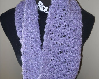 Soft Wide Cowl / Neck Warmer /  Infinity Scarf in Lavender / Violet With Flecks of Silver