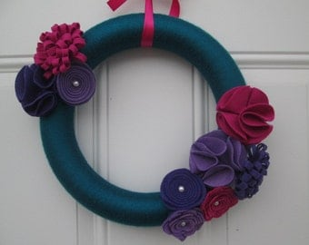 Spring Wreath-Jewel Toned Yarn and Felt Flower Wreath, Teal, Purple and Pink  Door Wreath,  12 inches