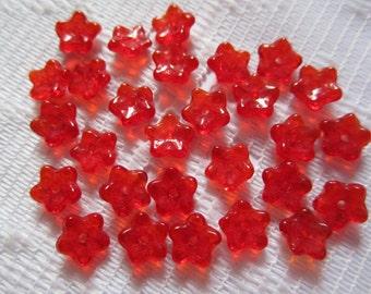 25  Bright Ruby Red Transparent 5 Petal Czech Glass Flower Beads  7mm
