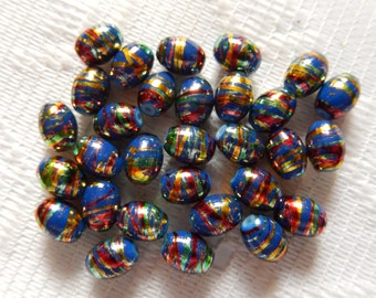 29  Slate Blue Red Green & Gold Foil Swirl Oval Glass Beads  8mm x 5mm