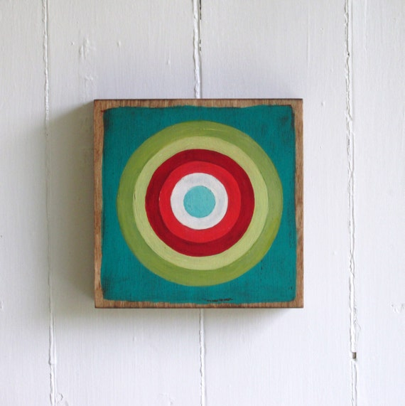 Hand Painted Bullseye 6x6 Art Block Turquoise, Green and Reds