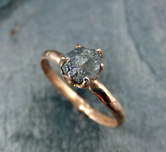 RESERVED Raw Diamond Engagement Ring Rough Uncut 14k rose Gold