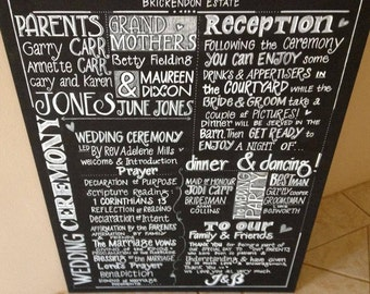 Wedding Program Chalkboard Sign.