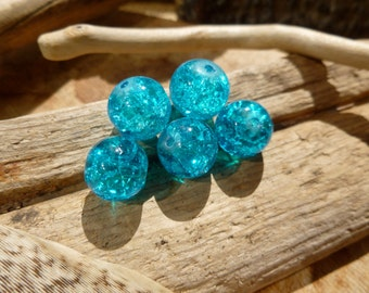 10x Blue Glass Lampwork Bead For Jewelry Making 10mm, P121