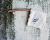 Set of 16 Vintage Hand Embroidered Linen Napkins and Table Runner Ivory with Blue Embelishments