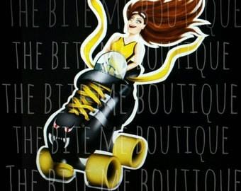 """Driving Miss Derby, 3"""" Roller Derby Printed Vinyl Sticker"""