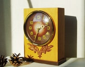 Table Clock Majak Working Wind Up Mechanical Russian Wooden Clock from Soviet USSR Mid Century Modern