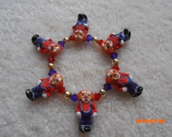 SEND in the CLOWNS Children's ceramic beaded bracelet