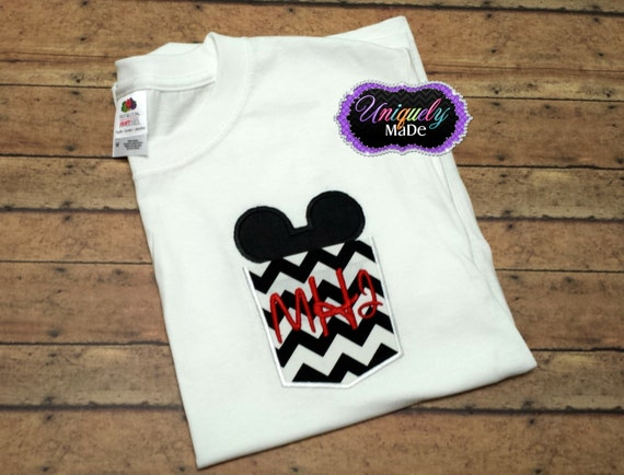Mouse in Shirt Pocket Mickey Mouse Pocket Applique