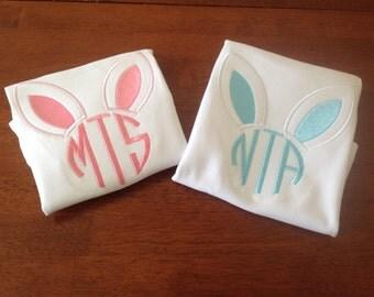 Cute Easter bunny ear Monogram, makes great matching sibling shirts