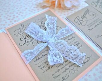 Pretty Peach Rustic Wedding Invitation