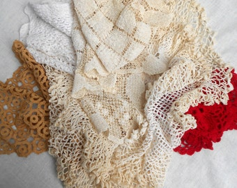 Lot Of 5 Vintage Handmade Doilies Very in Color