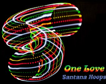 "ONE LOVE LED Hula Hoop collapsible Rasta Reggae red yellow green 3/4"" or 5/8  -Free Grip Tape Option-"