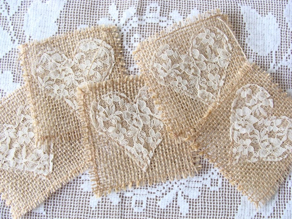 Shabby Burlap Lace Banner Bunting Garland Lace Hearts on Burlap