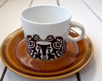 Set of five Vintage 60's/70's Arklow pottery TREE OF LIFE cups and saucers - Will ship worldwide