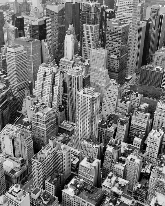 New York Black and White Landscape Photography, NYC Aerial No.2, Architecture Print, Urban Home and Wall Decor, Contemporary Art, Graphic