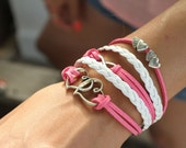 5 Strand Pink and White Love, Hearts, Infinity Bracelet - 5 Strand Leather Braided Wrapped Cross Bracelet