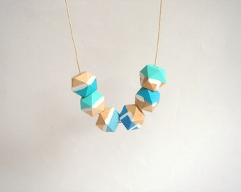 Blue and White Geometric Necklace ,Handpainted Wood Geometric Necklace,Geometric Jewelry