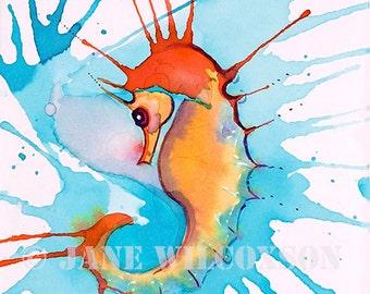 Splash Seahorse | tropical | colorful | ocean art
