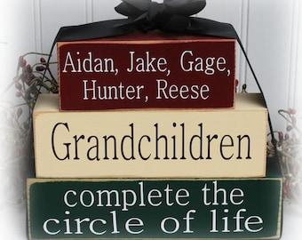 Custom Grandchildren Complete The Circle of Life Wood Stacking Blocks
