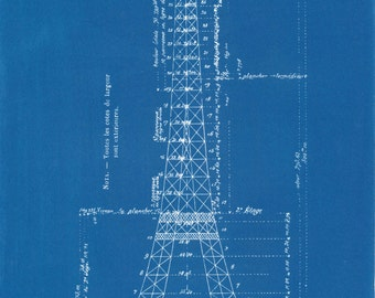 Eiffel Tower, blueprint, Cyanotype