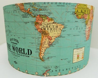 Vintage New World Map Lampshade