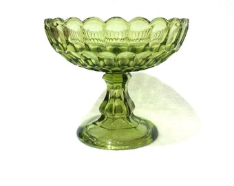 Vintage Green Glass Candy Dish, Vase, Compote