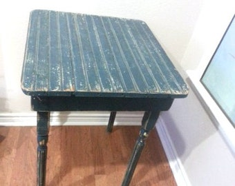 Antique Blue Shabby Chic Farm Table,  Vintage