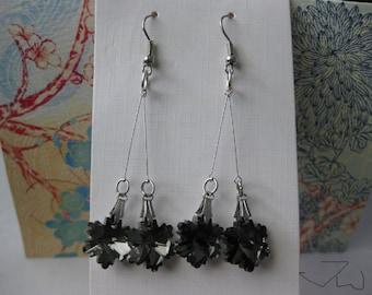 Black Crystal Beads Stainless Steel Earrings