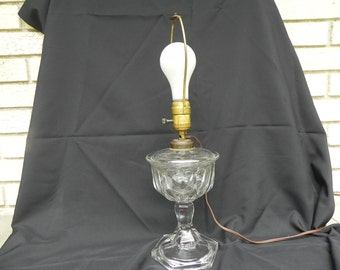 Vintage Glass Table Lamp  Heavy Clear Glass Pedestal
