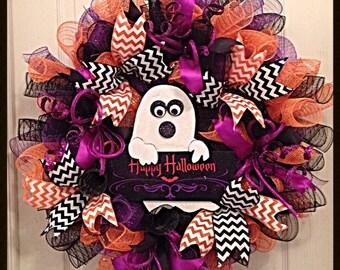 Happy Halloween Ghost Deco Mesh Wreath/Halloween Wreath/Halloween Deco Mesh Wreath/Ghost Wreath/Halloween Ghost Wreath