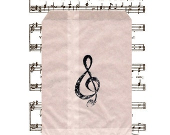 Music Party Favor Bags Glassine Guest Take Home treats choir ideas