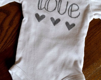 Handpainted love onesie
