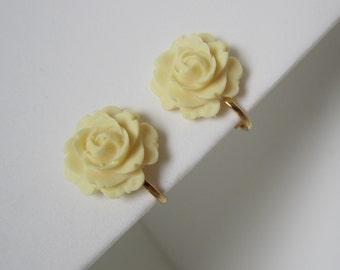 Clip-On Earrings cream rose clip on earrings Large flower clip on earrings GOLD plt., ivory resin cabochon 15mm resin flower clip earrings