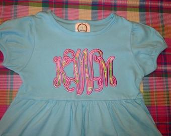 Aqua Blue Appliqué Monogram Empire Waist Dress