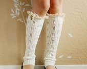 Beautiful gift for her .Lacy Leg Warmers.Cute White leg warmers,boot socks,boot long cuffs with cute white lace ,boot long cuffs