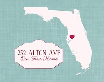 Our First Home Map, Custom Housewarming Gift for New Home Personalized Art Map, Address, First House, Gift from Realtor for Client, Florida
