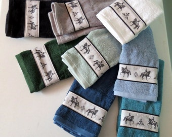 Dressage Horse Hand Towel - Choice of Color - Black, Blue, Gray, White, etc.