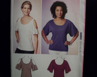 Kwik Sew 3880 Misses (XS-XL) Tops with dolman sleeves. One style with cold shoulder sleeves.