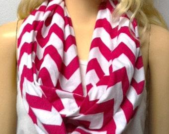 Magenta & White Chevron Print  Infinity Scarf   Jersey Knit Gift Ideas