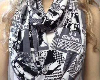 News Print Fashion Magazine Media Newspaper Black White Gray Infinity Scarf gift ideas Mens Women